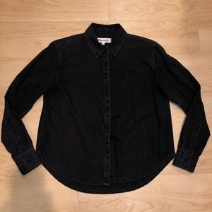 Madewell Black Chambray Top *size xsmall*